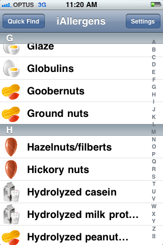 iAllergens Screenshot1